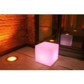 Cube Extérieur LED, E27, changement de couleur, hauteur 45 cm, télécommande