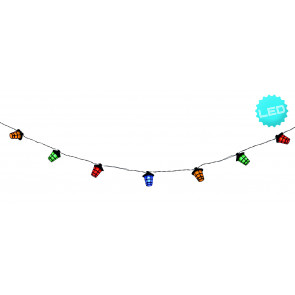 LED-Lichterkette Laterne Länge 3,8 M schwarz mehrflammig rund