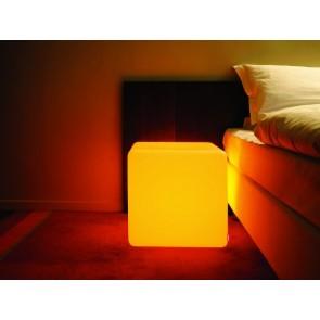 Cube Intérieur LED, E27, changement de couleur, hauteur 45 cm, télécommande